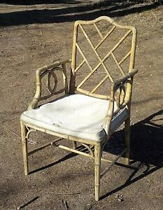 Vintage Mid Century English Regency Bamboo Turned Wooden Armchair