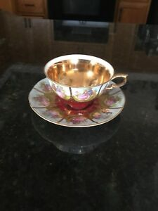 Antique Hand Painted Demitasse Tea Cup And Saucer Bavaria Germany Love Scenes