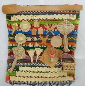 Vintage Folk Art Handmade Wool Tapestry With Woven Baskets And Wooden Elements