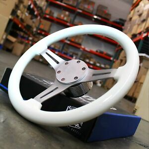 14 Polished Steering Wheel Blemished White Grip 3 Spoke 6 Hole