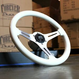 14 Inch White Steering Wheel W Black Forever Sharp Horn Button 3 Spoke 6 Hole