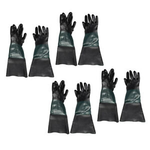 4 Pairs Pvc Gloves 60cm For Heavy Duty Sandblasting Sand Blast Cabinet