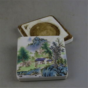 Fine Chinese Famille Rose Porcelain Scenery Mud Box