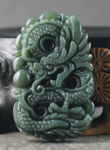 Chinese Natural Hetian Jade Hand Carved Statue Dragon Pendant