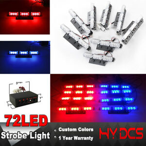 72 Led Lights Bar Vehicle Grill Emergency Warning Dash Strobe Flashing Red Blue