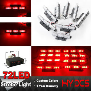 72 Led Lights Bar Car Vehicle Emergency Warning Beacon Dash Strobe Flash Red 12v