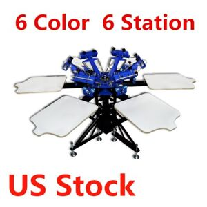 6 Color 6 Station Manual Silk Screen Printing Machine T shirt Equipment Usa