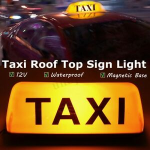 12v Abs Taxi Cab Sign Car Driver Roof Top Light Magnetic Taximeter Waterproof
