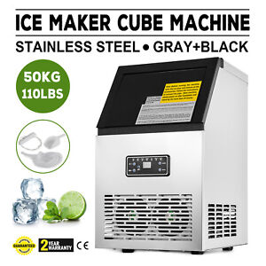 50kg Auto Commercial Ice Maker Cube Machine Stainless Steel Bar 110lbs 230w 110v