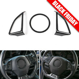 Carbon Fiber Steering Wheel Button Frame Ring Trim Cover For Chevrolet Camaro