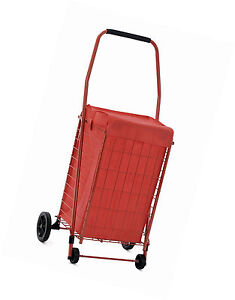 Shopping Cart Jumbo Basket Grocery Laundry Travel Folding With Swivel Wheel New