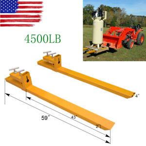 Clamp On 4500lbs Capacity Pallet Forks Loader Bucket Skidsteer Tractor Chain 59