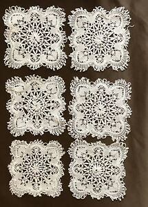 Six Antique Hand Made Lace Doily Coasters 4