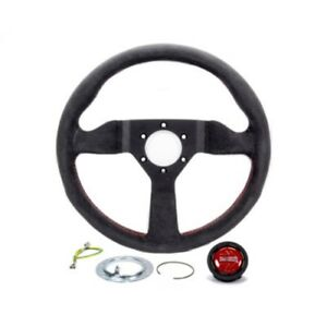 Momo Monte Carlo Alcantara Steering Wheel 350mm Black Red