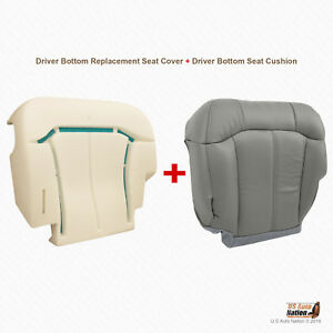 2000 01 2002 Chevy Tahoe suburban Driver Bottom Leather Gray Cover foam Cushion