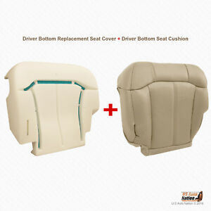 2000 2001 2002 Chevy Tahoe Driver Bottom Leather Seat Cover Foam Cushion Tan