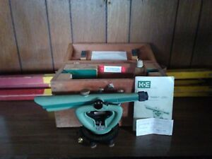Vintage 1970 Kne Transit Level Wooden Box Tripod Manual Certificate