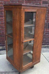 Antique Oak Revolving Bookcase Office Rare