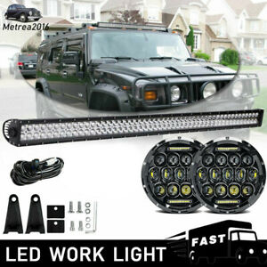 Straight 52 inch Roof Led Light Bar 2x 7 Inch Headlight Fit 2003 2009 Hummer H1