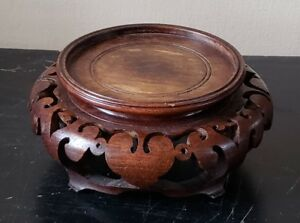 Vintage Chinese Carved Wood Stand For Vase Or Bowl Fits Up To 3 75