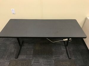 Hon Desk Table 24x60 Adjustable Height Charcoal Colored
