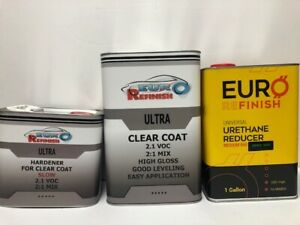 European Clear Coat 2k 2 1 2 1 Voc 7 5l Kit 2 Gallon 1 Sleeve 3m 06652 Tape