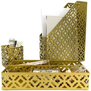 Desk Accessories Workspace Organizers Gold Women 3 Piece Set Pen Cup Tray