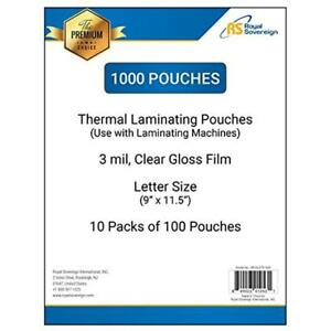 Laminating Supplies Royal Sovereign 1000 count Thermal Pouches 9 X 11 5 3 Mil