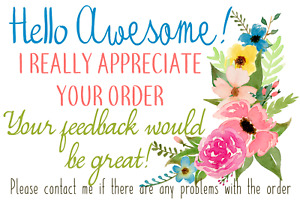 500 Floral Thank You For Your Purchase Sticker Label Feedback 2 x3