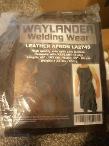 Waylander La2745 Leather Kevlar Hem Welding Apron Flame Resistant 40 Dark Brown