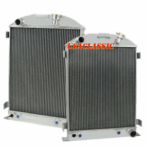 4row Aluminum Engine Radiator Fits 1933 1934 Ford grill shells Swap Chevy V8