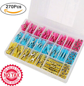 270 Pcs Heat Shrink Wire Connectors Kit Insulated Electrical Wire Terminals