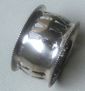 Vintage Silver Plated Reticulated Napkin Ring Vacant Cartouche