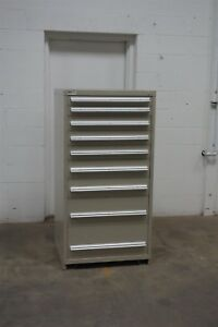 Used Stanley Vidmar 9 Drawer Cabinet Industrial Tool Parts Storage 630