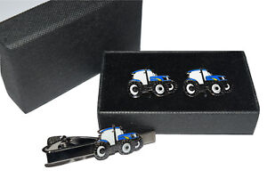 Blue Tractor Cufflinks Tie Clip Ford new Holland Gift Boxed Enamel Farming
