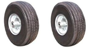 Two New Pneumatic Hand Truck Air Tires 10 X 3 1 2 Wheel With 5 8 Id 4 10 3 50