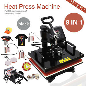 8 In 1 Heat Press Machine Transfer Sublimation Cap T shirt Hat Printing 15 x15