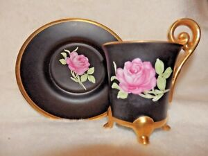 Vint Hand Painted Demi Tea Cup Saucer Matte Black W Rose Germany Stunning