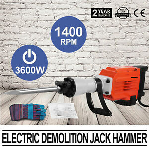 3600w Demolition Jack Hammer Electric Concrete Breaker 2 Chisel 2 Punch Bit Set