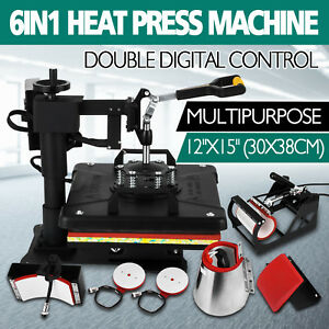 6 In 1 Digital Heat Press Machine Sublimation For T shirt mug plate Hat Printer