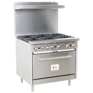 36 6 Burner Restaurant Kitchen Liquid Propane Range With Standard Oven