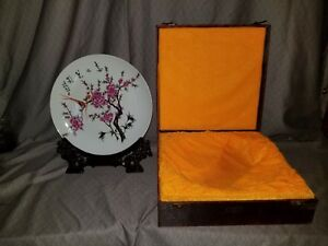 Vintage Plate Hand Painted Signed And Stamped Gorgeous Display Box And Stand