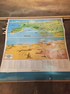 Vintage Cram S Geographical Terms Mid Century School Pull Down Map J0487