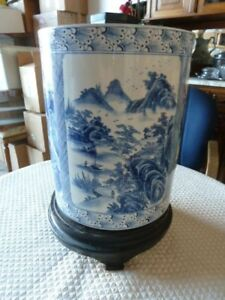Chinese Blue And White Porcelain Brush Pot In Cylinder Form With Pine