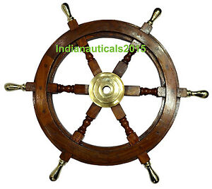 Vintage Style 18 Brass Wood Ship Wheel Nautical Home Decor Steering Boat