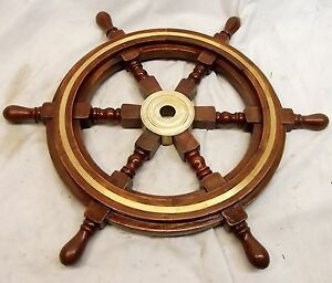 Vintage Style 18 Brass Wood Ship Wheel Nautical Bar Decor Steering Boat