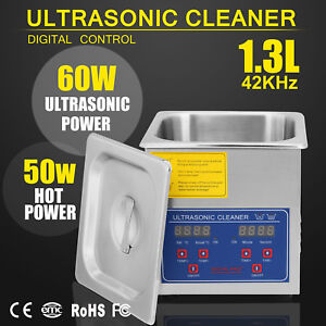 New Stainless Steel 1 3 L Industry Heated Ultrasonic Cleaner Heater W timer