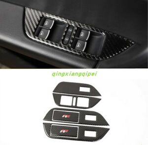 Carbon Fiber Window Switch Panel Cover Tirm For Volkswagen Touareg 2011 2017
