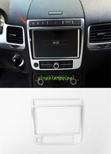 Stainless Steel Center Console Gps Panel Trim For Volkswagen Touareg 2011 2017