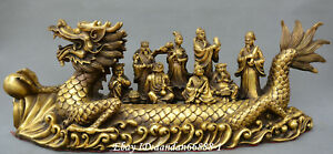 Chinese Fengshui Old Bronze Dragon Boat Eight Immortals Crossing The Sea Statue